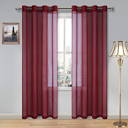 DWCN Amaranth Red Sheer Curtains for Living Room Bedroom Faux Linen Look Voile Drapes Grommet Top Window Curtain Panel 52 x 84 Inch Long,Set of 2 Panels