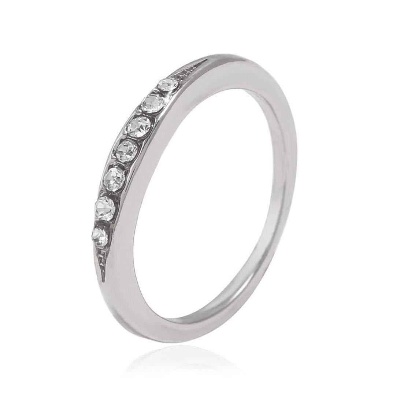 Sinwo Women Alloy Diamond Ring Wedding Party Womens Jewelry Gift (6, Silver)