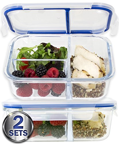 Large Premium 2 Pack] 3 Compartment Glass Meal Prep Containers w/ New Divider Seal Tech Best Quality Snap Locking Lids Airtight 4 Pcs Glass Food Container Set BPA-Free (5 Cups, 36 Oz)
