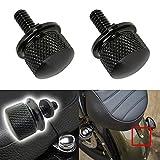 "TABEN 1/4 ""20 Thread Harley Davidson Seat Bolt Screw Aluminum Billet Chrome Motorbike Seat Bolt (Black) (Pack of 2)"