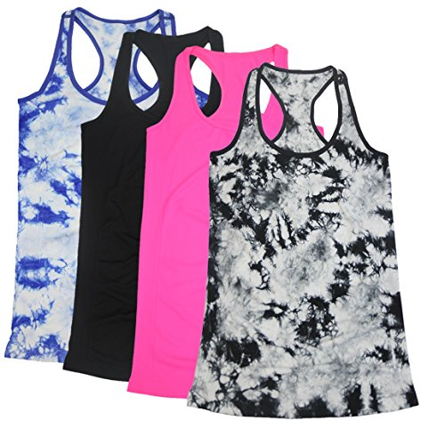 Basketball Womens Tank Top - BollyQueena Women's Casual Long Camisole Cami Top Long Workout Tanks Packs of 4 L