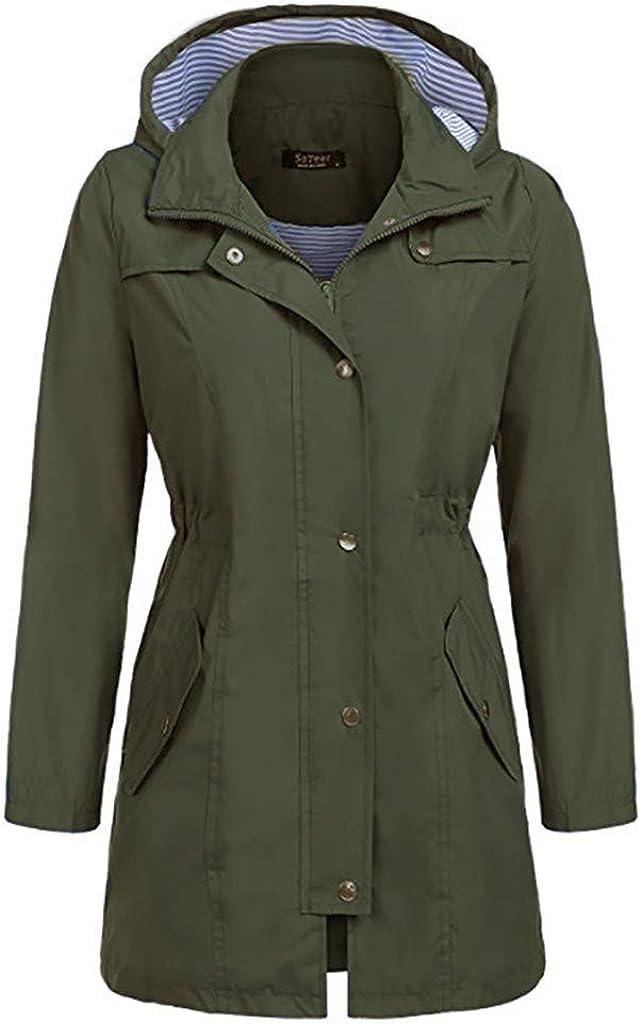 Fitfulvan Womens Lightweight Hooded Waterproof Rain Jacket Active Outdoor Breathable Windbreaker Coat