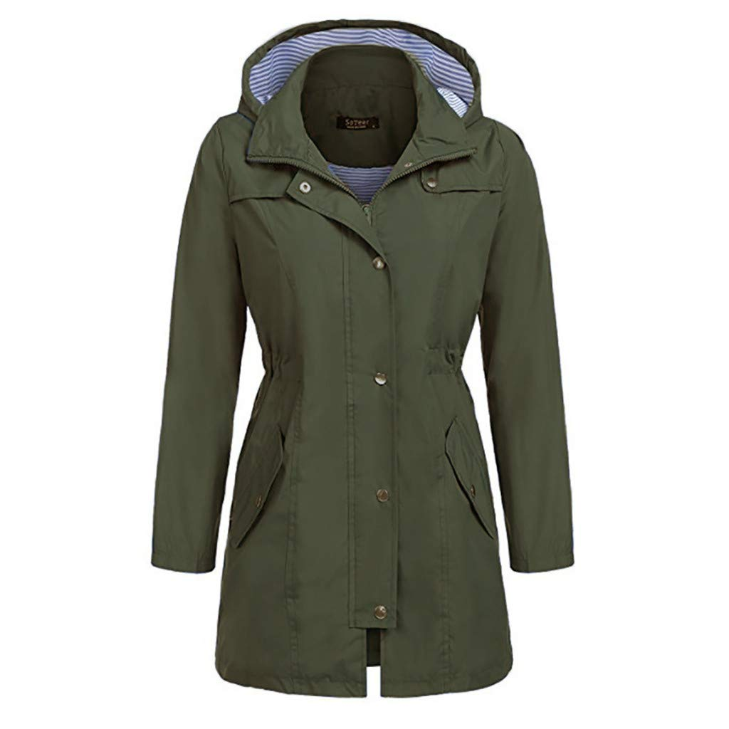 ❣❥HebeTop❥❣ Raincoat Women Waterproof Long Hooded Trench Coats Lined Windbreaker Travel Jacket Army Green by HebeTop➟Women's Clothing
