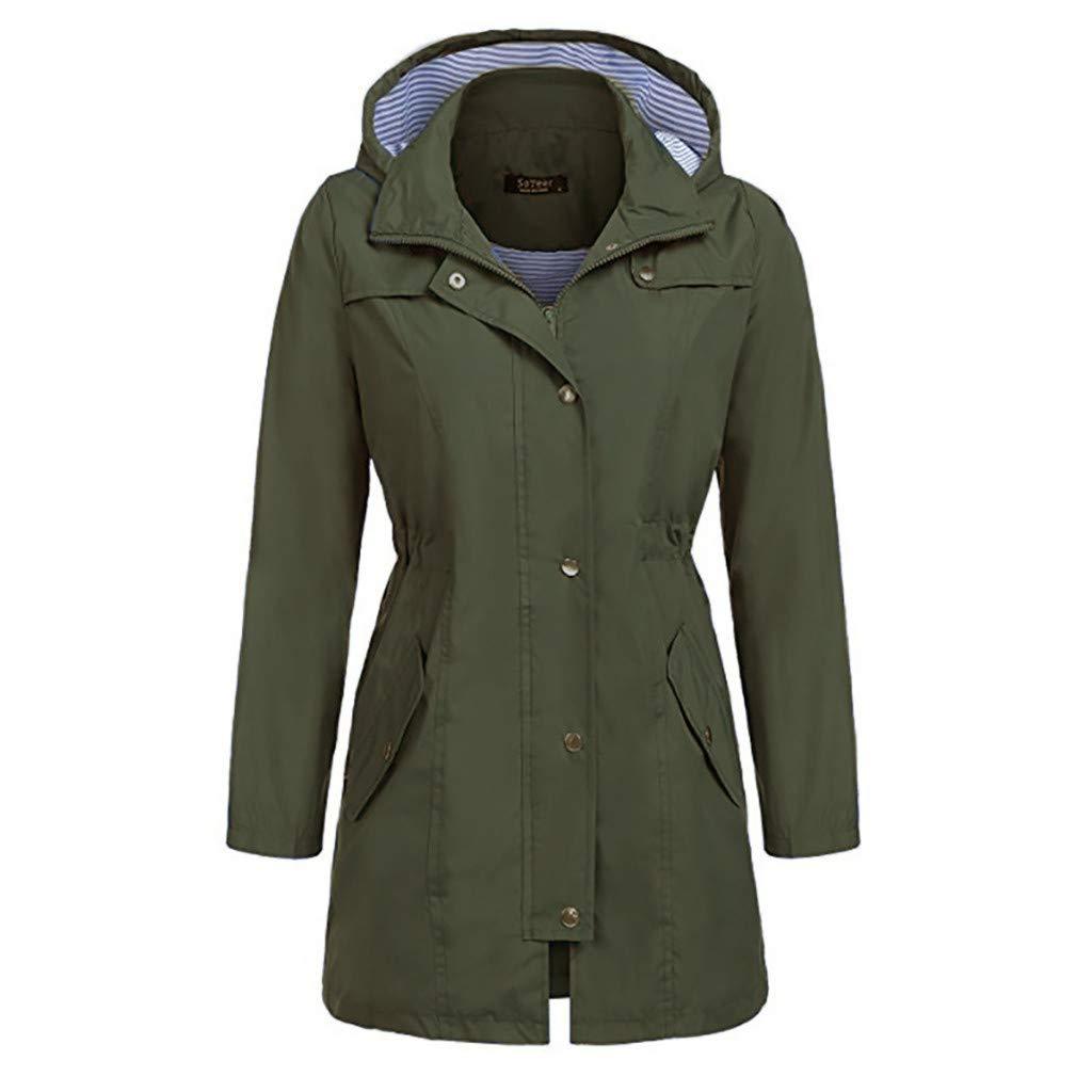 HAALIFE ◕‿ Women Windbreaker Jacket Lightweight Hooded Long Raincoat Hooded Trench Coats Lined Army Green