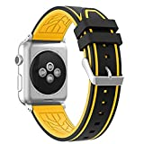 For Apple Watch Band, Honest kin Durable Soft Silicone Replacement iWatch Band Sport Style Wrist Strap for Apple Watch Band Series 3 Series 2 Series 1 Sport, Edition (42mm,Black/Yellow)