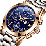 Watches Men Stainless Steel Business Analog Quartz Watch Luxury Brand LIGE Waterproof Sport Rose Gold Blue Wrist Watch