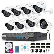 TECBOX Security Video Camera System 8 Channel 720P AHD DVR Recorder 500GB HDD with 8 2.0MP Waterproof Motion Night Vision HD CCTV Indoor Weatherproof Home Outdoor Security Camera