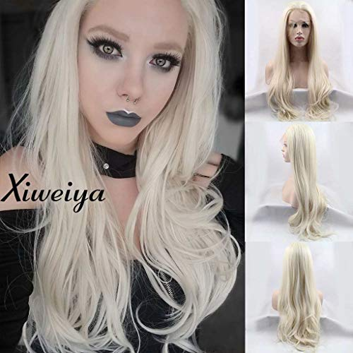 Heat resistant synthetic lace front wig light blonde nature wave Platinum Blonde Glueless Long Natural Straight Half Hand Tied Replacement Full Wig For Women Heat resistant -