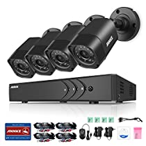 ANNKE 720p HD Security System 1080N DVR Recorder and (4) Weatherproof Surveillance Cameras,Remote Access Motion Detection