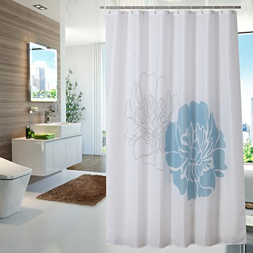 Yuunity Polyester Fabric Shower Curtain for Bathroom Mildew Resistant Waterproof Non-Toxic Floral Printed, 72x72-White and Blue Flower