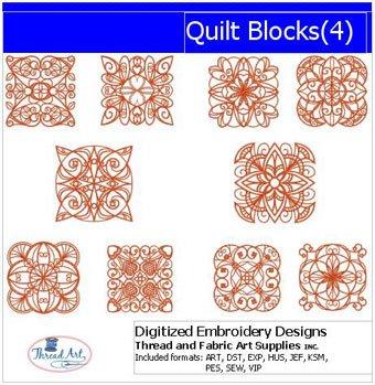 Threadart Machine Embroidery Designs - Quilt Blocks(4) - USB Stick