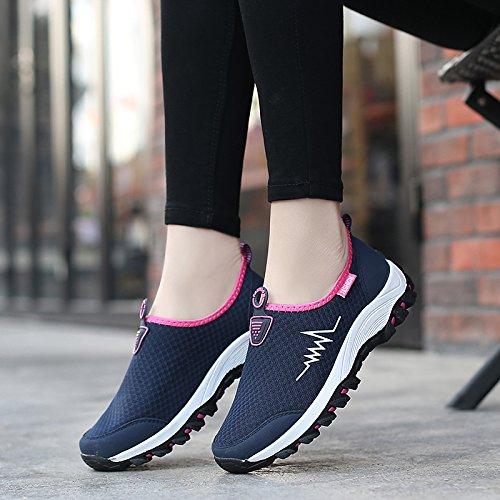 de Hasag de Zapatos de Transpirable Malla Mujeres Zapatos Deportivos de Antideslizantes Blue Zapatos Zapatos Malla del Dark Netos A1 Las Zapatos Tela Suave Verano rrwzq0