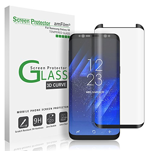 amFilm Galaxy S8 Glass Screen Protector, Full Screen [Case Friendly] Dot Matrix 3D Curved Tempered Glass Screen Protector for Samsung Galaxy S8 (Black) [Bubble Free Guarantee]