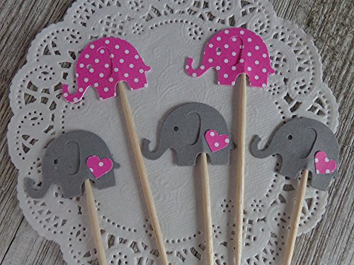 Raspberry Pink with White Polka Dot Elephants & Grey Elephants with matching hearts Cupcake Toppers - Food Picks - Baby Girl Shower Picks - (Set of (White Raspberry Cakes)