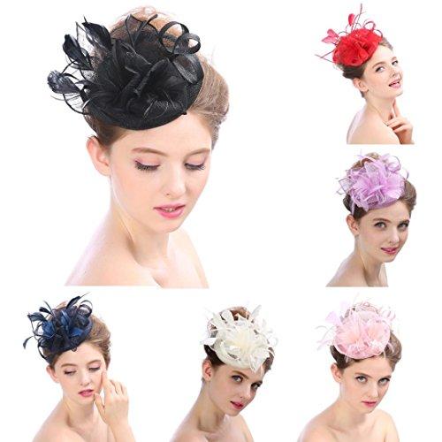Nacome Charming Bow Tie Mesh Headband Netting Mesh Hair Band Cocktail Hat Party Girls Women Fascinator (Purple) -