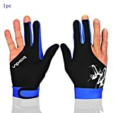 Man Woman Elastic Lycra 3 Fingers Gloves for Billiard Shooters Carom Pool Snooker Cue Sport - Wear on the Right or Left Hand (Black Blue, M)