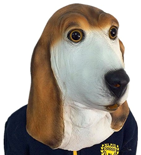 [Gmasking Bowser Basset Hound Head Adult Dog Mask+Gmask Keychain] (Bowser Costume For Dog)