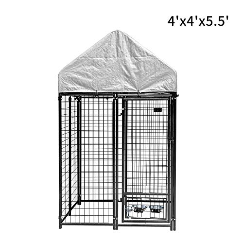 Pupzo Welded Wire Dog Kennel,Outdoor Heavy Duty Pet Kennel with UV Protection and Waterproof Trap Cover Automatic Lock Rotatable Window 2 Stainless Steel Bowls Black (4'x4'x5.5')