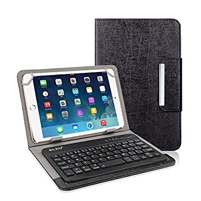 Elzo PU Leather Stylish Folio Case Cover with Magnetic Closure and Detachable Rechargeable Bluetooth Wireless Keyboard for iPad, iPad Air, Samsung, Lenovo, Acer, ASUS, HP Android / IOS / Windows Tablet from ELZO