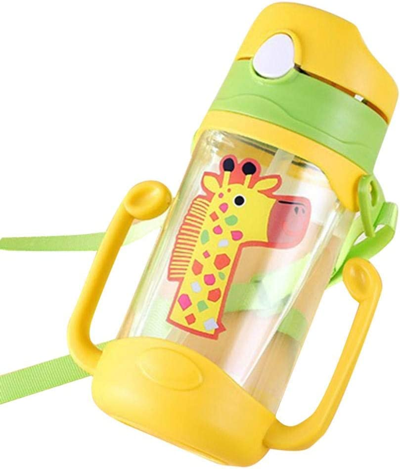pzkwmfv PP Silicone Cartoon Portable Leak Proof Straw Water Bottle Sippy Cup with Lanyard for Kids Babies Gift