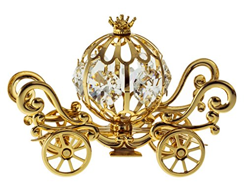 Mini Pumpkin Coach 24k Gold Plated Metal Tabletop Figurine with Clear Spectra Crystals by Swarovski - Wedding Cake Topper Cinderella