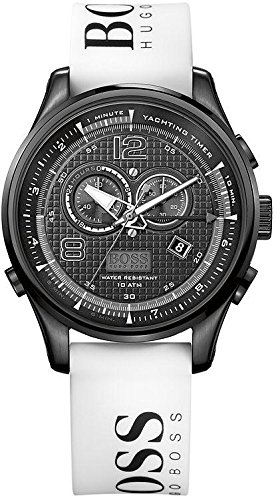 Hugo Boss Chronograph Black Dial White Rubber Strap Mens Watch 1512802