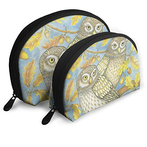 Two Little Owls Portable Bags Makeup Bag Toiletry Bag, Multifunction Portable Travel Bags Small Makeup Clutch Pouch with Zipper ()