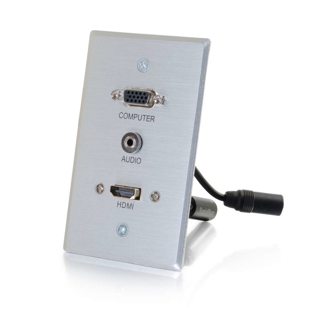 C2G RapidRun HDMI Single Gang Wall Plate Transmitter with VGA + Stereo Audio - Aluminum
