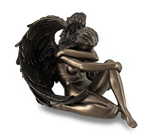 Artistic Sculpture - Resin Sculptures Bronzed Female Angel Statue Artistic Nude Sculpture 6 X 4.5 X 5.5 Inches Bronze