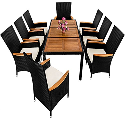 Poly Rattan Garden Furniture Table and Chair Set 8 Seater Outdoor ...