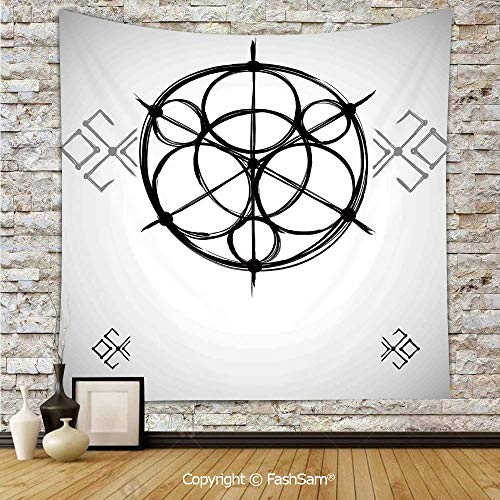 FashSam Tapestry Wall Hanging Sketchy Geometric Plan with Swirled Spiral Origins Cosmos Universe Decor Tapestries Dorm Living Room -