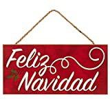 Losea Feliz Navidad Front Door Decor Hanging Sign 5x10 Rustic Hanging Wood Porch Decorations