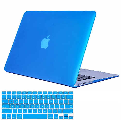 AMYIJIE Plastic Hard Case with Keyboard Cover protective film only for MacBook Air 13-inch rubber hard case (Models: A1369 and A1466) (Blue) (Inserts Plastic Protective)