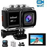 Action Camera, ieGeek 4K 20MP WiFi Sports Cam Ultra HD Underwater Camera DV Camcorder EIS Image Stabilizer 30M Waterproof 170° Wide-Angle with Carry Case/2 Batteries/External Microphone/Accessory Kit