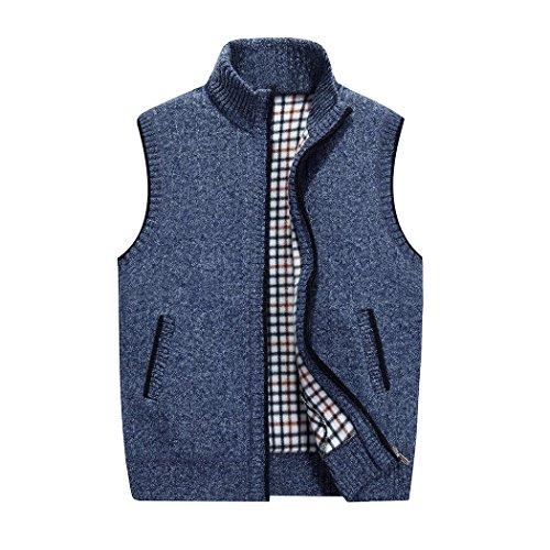 Senza Del Maglione Basamento A Cardigan Collare Risnow Degli Giubbotto Uomini Maglia Blu Maniche Zip ATaqBA8Pxw