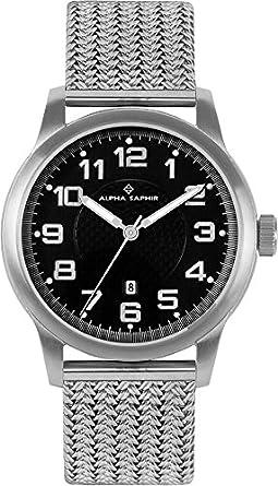 Alpha Saphir 340C - Reloj de caballero de cuarzo, correa de acero inoxidable color plata: Amazon.es: Relojes