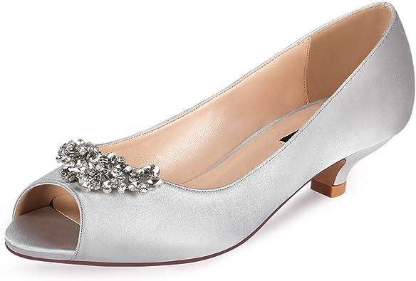 ERIJUNOR Women Comfort Low Kitten Heels