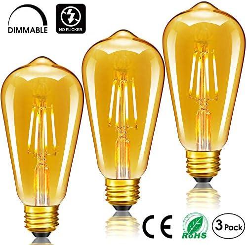 LED Edison Bulb,Woowtt Vintage Light Bulb,6W E27 LED Bulbs,Led Filament Style