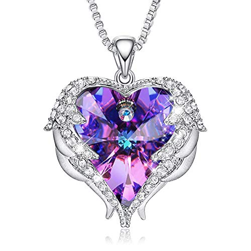 CDE Necklace for Women Angel Wing Heart Pendant