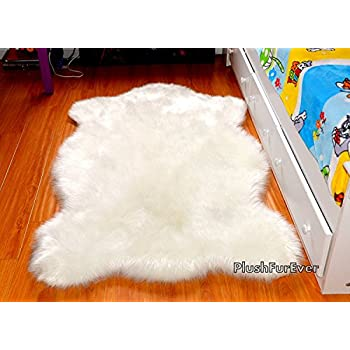 Off White Sheepskin Chubby Bear Shape Nursery Area Rug Faux Fur Single Pelt