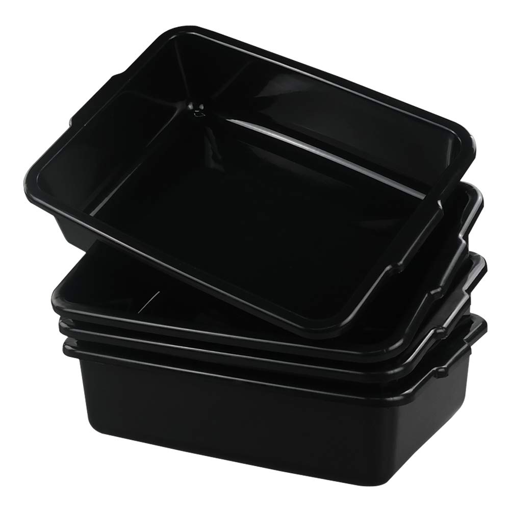 Fiaze Small Commercial Tote Box, Rectangle Utility Bus Tubs, 4-Pack, Black