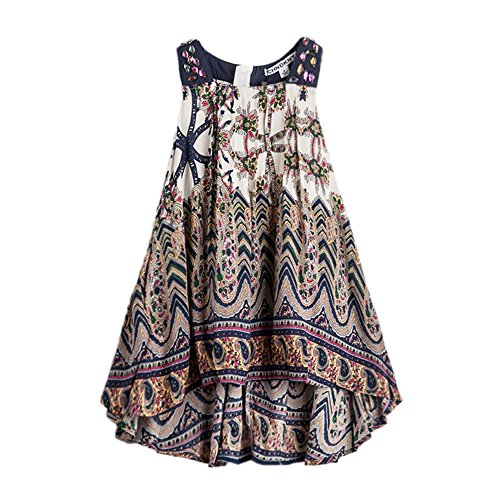 (childdkivy Baby Girls Summer Dress Bohemian Fashion Clothes (12(11-12year),)
