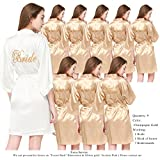 PROGULOVER Set Of 9 Women's Satin Kimono Robes For Bride Bridesmaid With Gold Glitter Wedding Party Bridal Shower