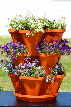Stackable Garden Planter   A Stacking / Hanging Pot   2 Sets Of 3 Tiers  Terracotta