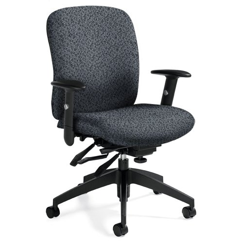 Global GLBTS54513S111 Truform Mid-Back Chair, Multi-Tilter, 24 Hour Use, Up To 350 LBS, Sprinkle Charcoal Fabric, Black Base