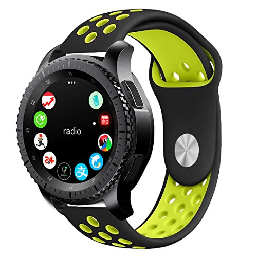 Price comparison product image Gear S3 Band, KADES Soft Silicone Band Replacement Strap for Gear S3 Frontier and Gear s3 Classic Smart Watch (Large, Black/Fluorescent Yellow)