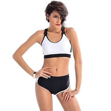 DaBag Damen Sommer Hoch Taille Schwimmanzug Sportlich Bikini Kleine Brüste  Ohne Verstärkung Schwarz Weiss Zweiteiler Badeanzug  Amazon.de  Bekleidung 46db28366a
