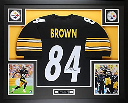5672a23a48a Antonio Brown Autographed Black Steelers Jersey - Beautifully Matted and  Framed - Hand Signed By Antonio