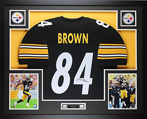 Signed Framed Steelers Jersey (Antonio Brown Autographed Black Steelers Jersey - Beautifully Matted and Framed - Hand Signed By Antonio Brown and Certified Authentic by Auto JSA COA - Includes Certificate of Authenticity)