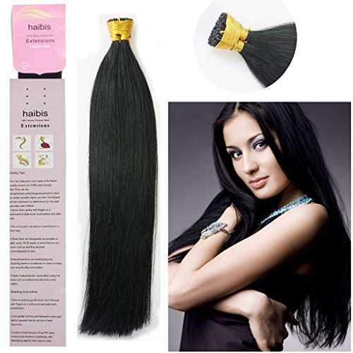 haibis 16''-22''Remy Stick tip Human Hair Extensions Straight Keratin Fusion I-tip Hair Extensions 1g/s 100s(20'',#01 Jet Black)